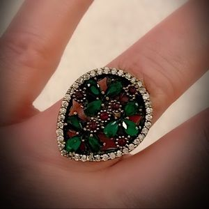 Green Emerald Ruby Solid Sterling Silver Ring 925
